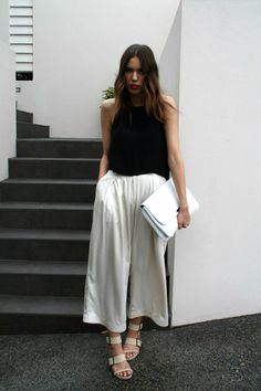 {wide leg pants}  These cuties give the illusion you are wearing a skirt but in reality they are cropped wide leg pants!{fancy tip friday}