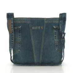 Recycled cross body bag , dark blue denim shoulder bag , Eco friendlybag , jean school tote bag , vegan crossover bag for men and women