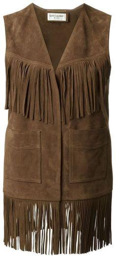 Saint Laurent fringed waistcoat on shopstyle.com.au