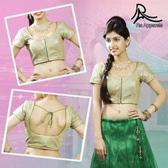 """Golden Crochet layer on Green base - Ready Made Padded Saree Blouse. """"Ra apparels"""" launched by MuHeNeRa Ra 7"""