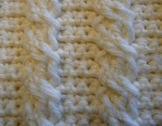 Crocheted Cable Stitch Pattern--I can do this without knitting it?! Whoop whoop!! Can't wait til I have the time to try it :D