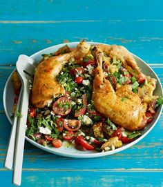 Oregano and sage roast chicken legs with tomato, herb and feta bread salad