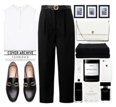 """TOPSET Black White Gold"" by theapapa ❤ liked on Polyvore featuring Helmut Lang, Acne Studios, Gucci, Mikasa, Valextra, Home Source International, Byredo, Dogeared, Narciso Rodriguez and Tacori"