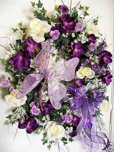 purple and cream butterfly wreath