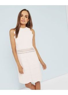 Ted Baker Scallop Detail Ribbed Dress Baby Pink