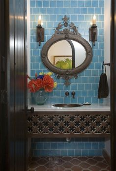 Vanity design -- could find old carved wood. And mirror.