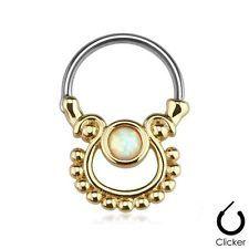 Ip Ouro Aço Cirúrgico Articulada septo Clicker Piercing De Nariz Argola Opala Branco 16g