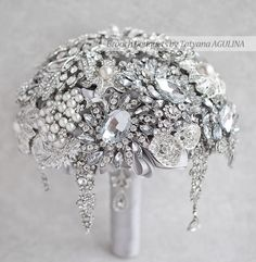 SALE! 10''  Ready to ship Brooch bouquet. Silver wedding brooch bouquet.Crystal bouquet Ready to ship! by MagnoliaHandmade on Etsy https://www.etsy.com/listing/154448656/sale-10-ready-to-ship-brooch-bouquet