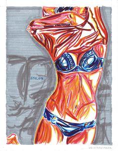 """Un attimo prima"", watercolor marking pen, 140lb/300gsm - 28x35.6cm paper, 2016 author: ernesto maria giuffre' #painting #pen #art #woman #strip #dress"