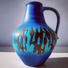 "Polubienia: 4, komentarze: 0 – modern (@modern_old2new) na Instagramie: ""Turquoise Dumler&Breiden vase #turquoise #blue #black #design #dumlerandbreiden #wgp…"" Vase, Ber, Modern, German, Pottery, Design, Vintage, Instagram, Home Decor"