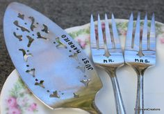 WEDDING Mr and Mrs Forks & Cake Server Set by SilverwareCreations, $59.00...Added these to our Amazon registry. :)