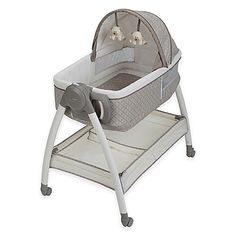 The Dream Suite Bassinet from Graco is a reversible bassinet and changer all in one. This versatile bassinet is a great next-to-bed sleeping and changing solution. Features 2-speed vibration, attached soft toys, canopy and wheels to facilitate movement.