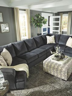 My couch! 🖤 Eltmann Slate LAF Cuddler, Armless Loveseat, Armless Chair, RAF Sofa with Corner Wedge Sectional & Accent Ottoman Living Room Sectional, Living Room Grey, Living Room Interior, Home Living Room, Apartment Living, Living Room Furniture, Living Room Designs, Living Room Decor, Sectional With Cuddler
