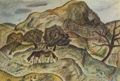'Hill Pasture, Capel-y-ffin' by David Jones, 1926 David Jones Artist, How Soon Is Now, Watercolor Landscape, Watercolour, Beautiful Images, Psychedelic, Moose Art, Horror, Illustration