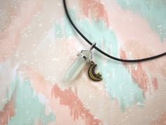 White Cats Eye Crystal Necklace or Crystal Choker // White CatsEye Gem Necklace // Pastel Goth Necklace or Grunge Choker // Kawaii Jewelry