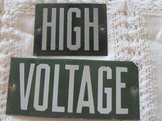 VINTAGE High Voltage SIGNAGE  Green  Power Line  INSULATOR SIGN Lineman