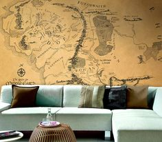 Wall Map of The Lord of the Rings - Oh, how I wish I could do this in my house.