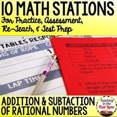 Adding and Subtracting Rational Numbers Stations Math Stations, Math Centers, 4th Grade Math Test, Numbers Station, Teaching Strategies, Teaching Resources, Rational Numbers, Math Lesson Plans, Adding And Subtracting