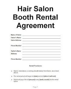 Booth Rental Agreement 1 | booth in 2019 | Salon booth ...