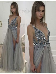 Deep V-neck Beading Sleeveless Silver Prom Dress with Split Backless Evening Dress Grey Evening Dresses, V Neck Prom Dresses, Prom Dresses 2017, Tulle Prom Dress, Formal Dresses, Dresses Dresses, Afternoon Dresses, Flapper Dresses, Wedding Dresses