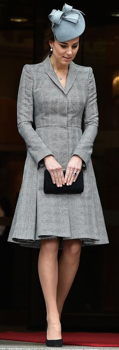 Malaysian State Visit, London 2014 (first appearance since announcement of second pregnancy) Coat dress - Alexander McQueen (bespoke) Hat - Jane Taylor (previously worn on Easter Sunday in Australia) Clutch - Jenny Packham, Shoes - Prada