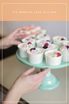 DIY Mini Wedding Cakes to go in Paper Cups - photo by We are the Castros - http://ruffledblog.comdiy-mini-wedding-cakes-to-go-in-paper-cups