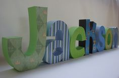 Set of 7 Custom Wood Letters Hand Painted and by thepatternbag