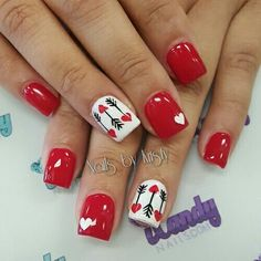 Short acrylic red nails valentines nail art