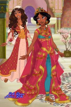 Jasmine and Dalia 💘 ~ ~What was your favorite dress that Jasmine wore in Aladdin? ~ Mine was definitely the purple one 😍💜 ~ ~{ Disclaimer:…