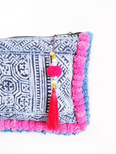 Handmade Bag Accessories Lovely RED Pom Pom & Tassel by HMONG in Thailand (ACC062-R)