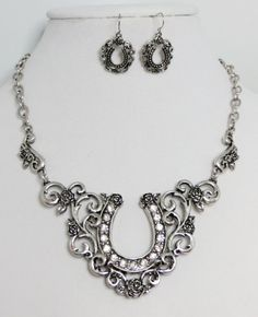 Cowgirl Bling Scroll Horseshoe Rhinestones Western Gypsy Silvertone Necklace set our prices are WAY BELOW RETAIL! all JEWELRY SHIPS FREE! www.baharanchwesternwear.com baha ranch western wear ebay seller id soloedition