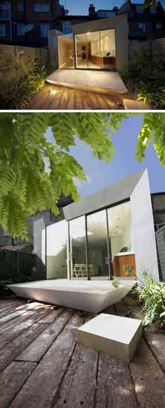 14 Examples Of British Houses With Contemporary Extensions // An angular extension on this British home adds a geometric touch to the home and makes more use of the long backyard.