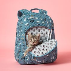 The cat's out of the bag (well, kind of)! We have a feline you're going to love our latest pattern, Cat's Meow. Crazy Cat Lady, Crazy Cats, Cat Backpack, Collectible Figurines, College Girls, Spice Things Up, Vera Bradley, Style Icons, Backpacks