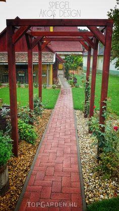 kertépítés, kerttervezés ötletek Sidewalk, Country, Garden, Garten, Rural Area, Side Walkway, Lawn And Garden, Walkway, Gardens