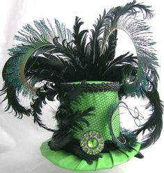Ideas to decorate my plain black mini top hats: lace, costume jewelry, feather alternatives?
