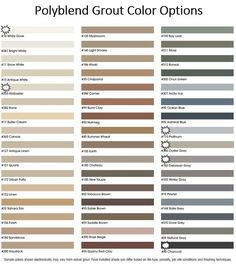 Polyblend grout color chart o2 pilates
