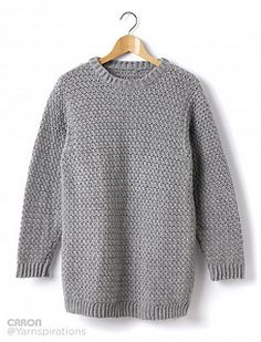 This Caron Simply Soft sweater will go with everything! Throw on this crocheted Crew Neck Pullover and you're good to g