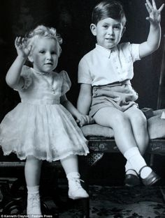 A very young Princess Anne and Prince Charles