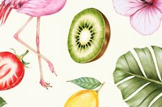 Illustration of pink flamingo , Watermelon Illustration, Apple Illustration, Flamingo Illustration, Creative Illustration, Free Illustrations, Strawberry Background, Yellow Vegetables, Carrot Vegetable, Outdoor Pouf