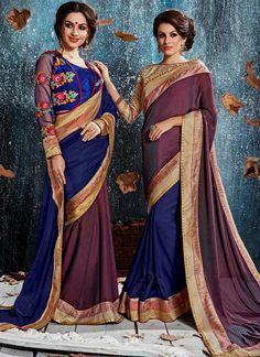 Absorbing Navy Blue Classic Designer Saree