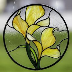 stained glass orange lily suncatcher, stain glass orange flower ornament on Etsy