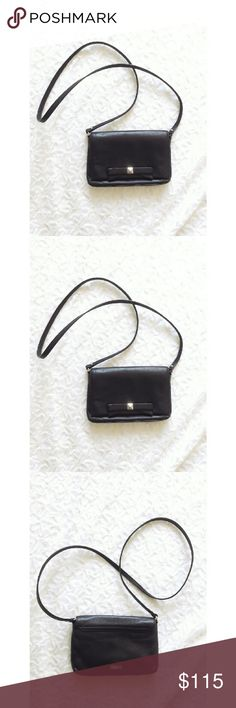 "{kate spade} 'carah' leather bow crossbody A girly and classy closet essential 'carah' leather bow black Crossbody purse from Kate Spade  Super soft leather with a top flap with a magnetic closure.   Interior slide pocket perfect for carrying a few cards  Measurements: 5"" x 7.5"" x 1.25""   Gently worn Retails $158 kate spade Bags Crossbody Bags"