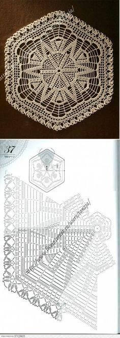 Crochet with diagram Crochet Doily Diagram, Crochet Quilt, Crochet Tablecloth, Crochet Home, Thread Crochet, Filet Crochet, Crochet Square Blanket, Crochet Squares, Lace Doilies