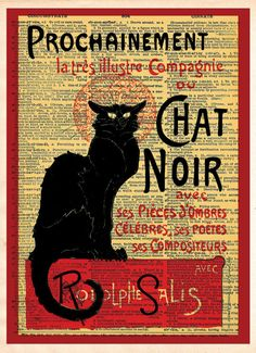 Le Chat Noir, black cat, french cabaret poster, dictionary page art print