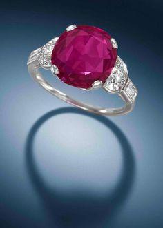 An art deco ruby single-stone ring,