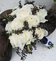 Navy & White Wedding Bouquet Arranged With: White Roses & Dark Blue Privet Berries Hand Tied With Navy/White Ribbon With A Cute Button~~