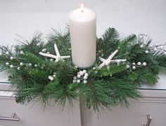 STARFISH CHRISTMAS CENTERPIECE beach decor, nautical decor, pearl accent, mixed pine. $45.00, via Etsy.