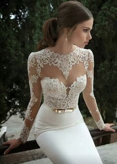 White lace elegant dress