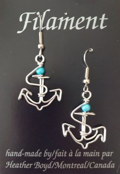 Anchor Earrings by HeatherBoydWire on Etsy