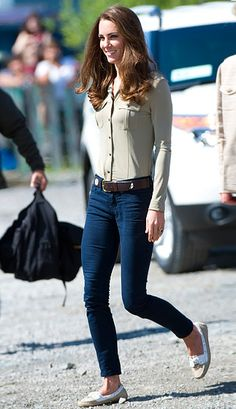 July 2011.  Skinny jeans, indeed! On her and Prince William's tour of North America, Kate Middleton revealed her pin-thin frame in both formal and casual outfits.